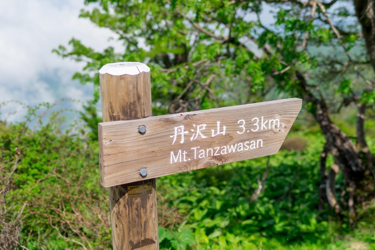 蛭ヶ岳山頂にある丹沢山方面の道標