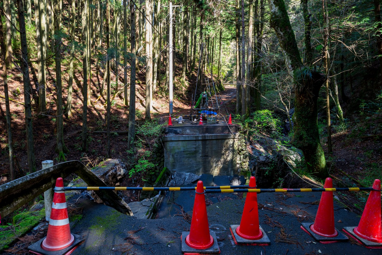 林道の崩壊現場
