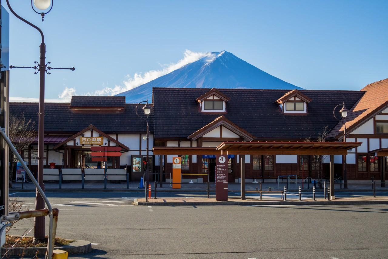 河口湖駅から見た富士山