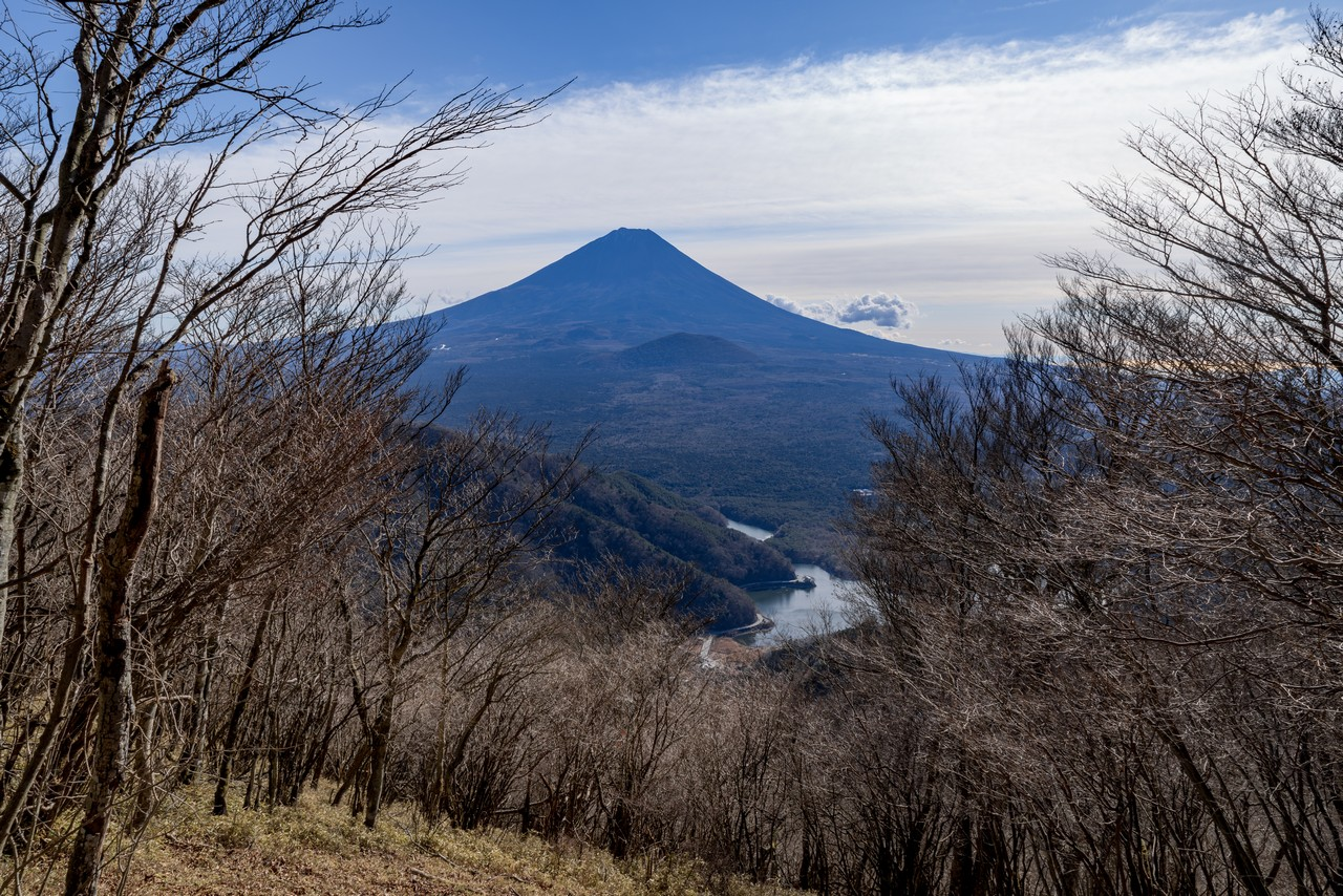 三方分山から見た富士山と精進湖