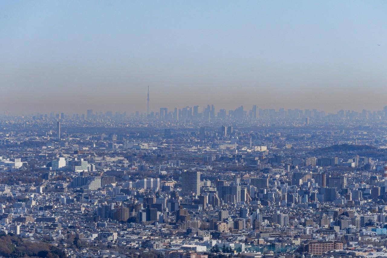 八王子城山から見た東京スカイツリー