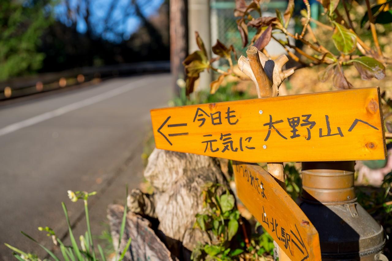 「今日も元気に大野山」と書かれた標識