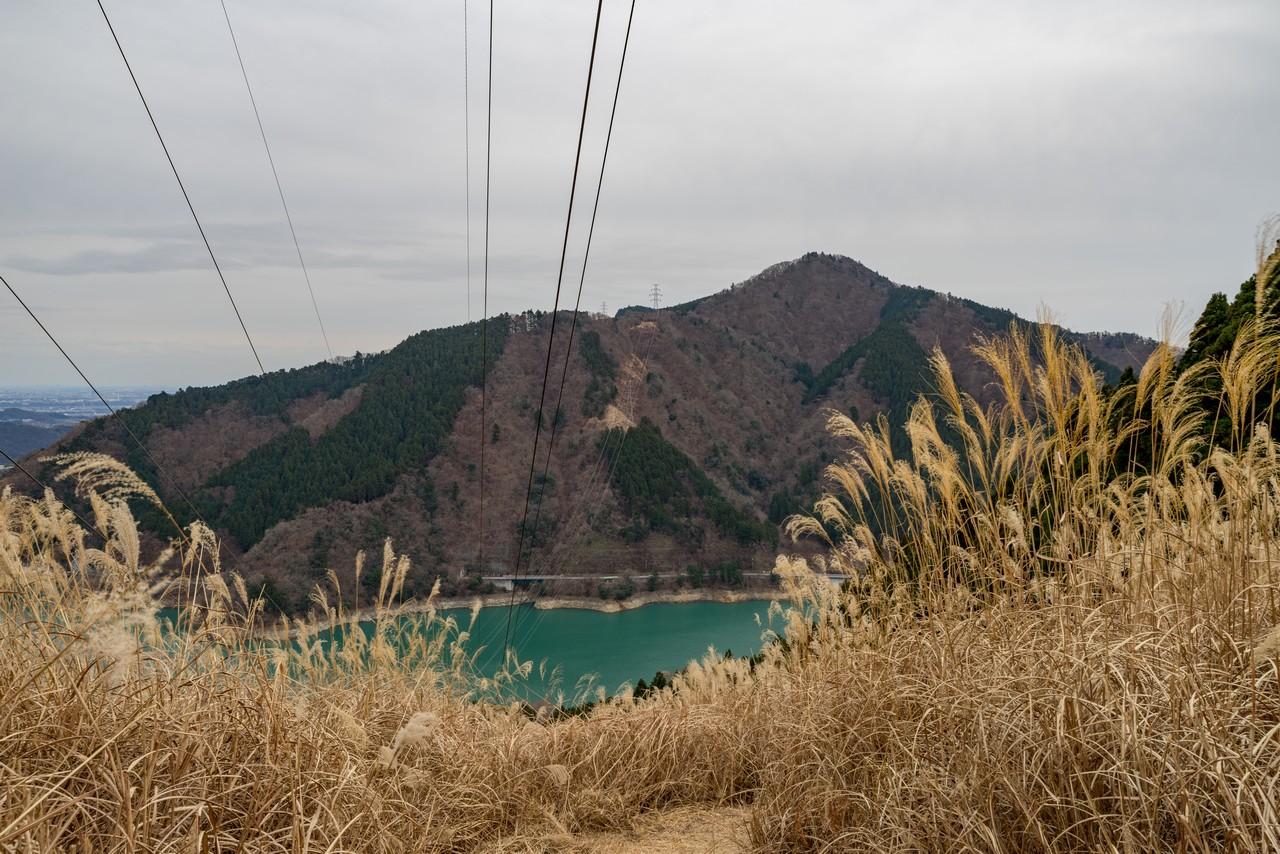 南山の送電鉄塔から見た高取山