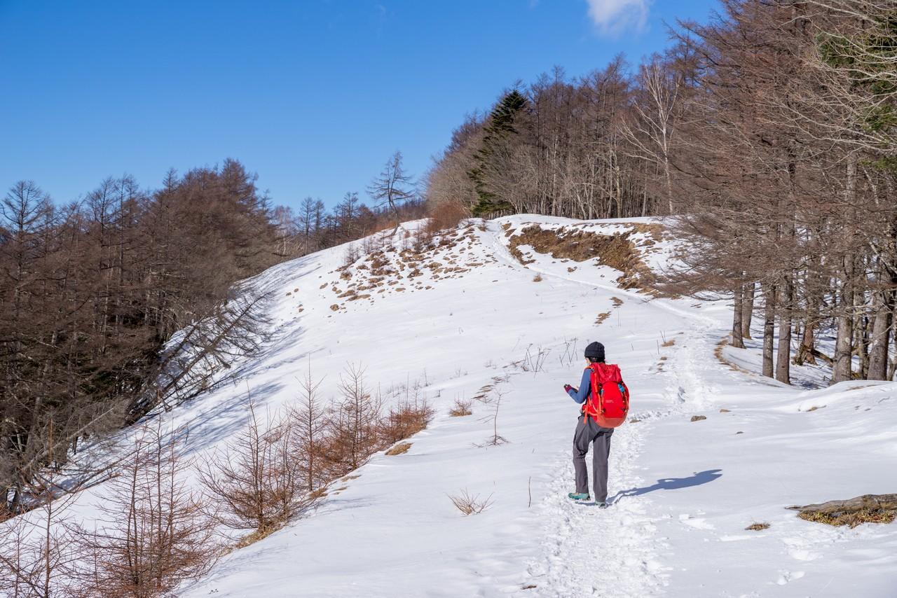 積雪期の石尾根縦走路