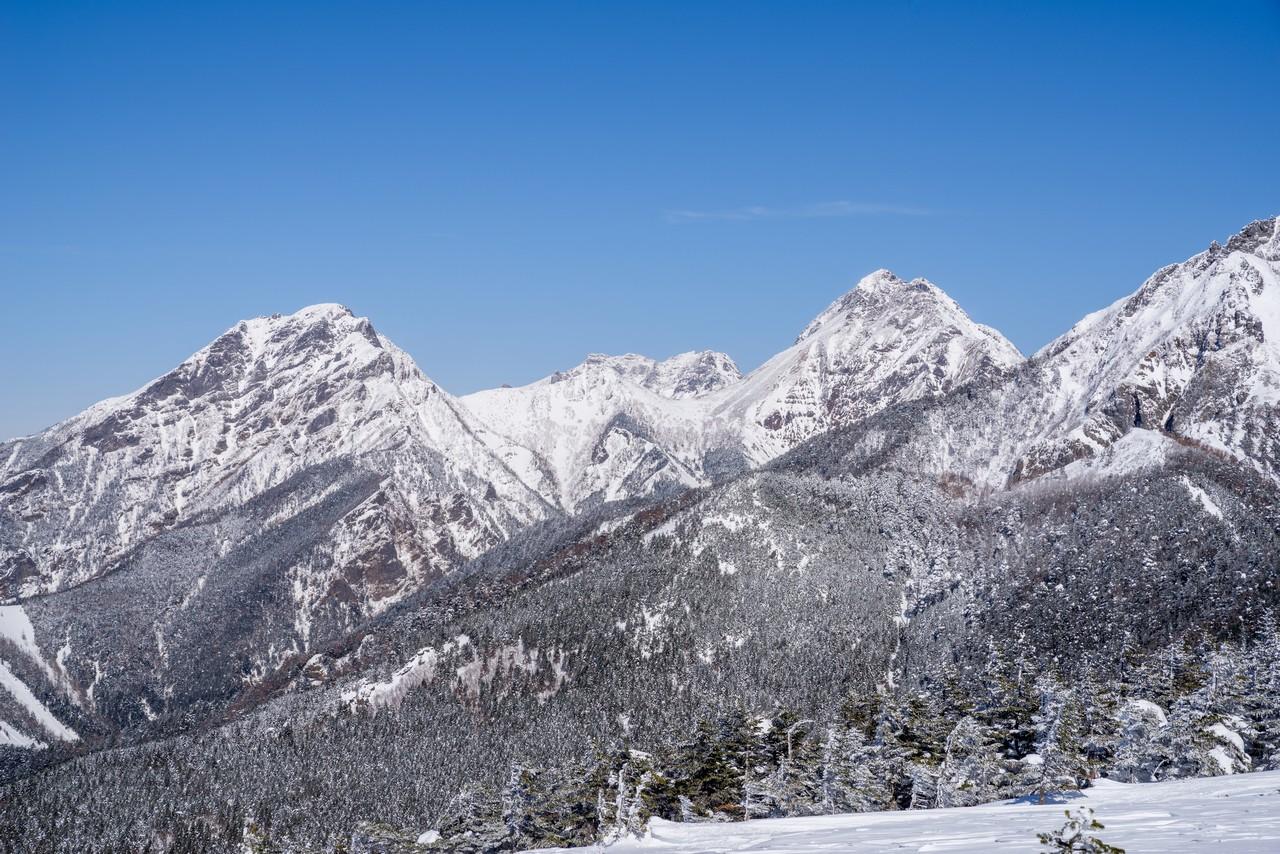 編笠山から見た冬の赤岳と阿弥陀岳