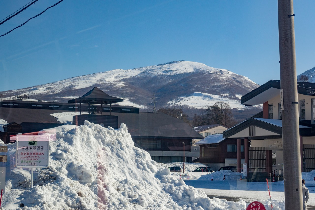 菅平高原から見た冬の根子岳
