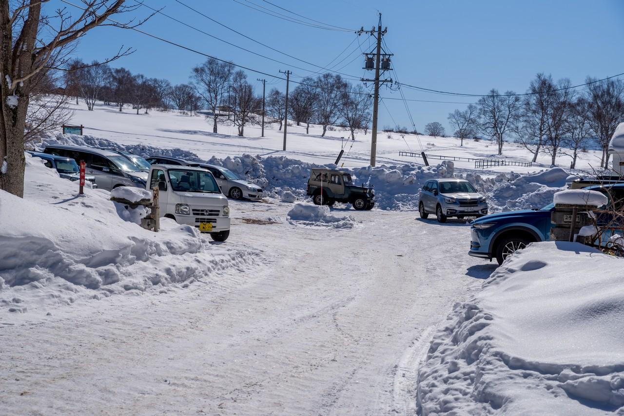 菅平高原牧場の冬期用駐車スペース