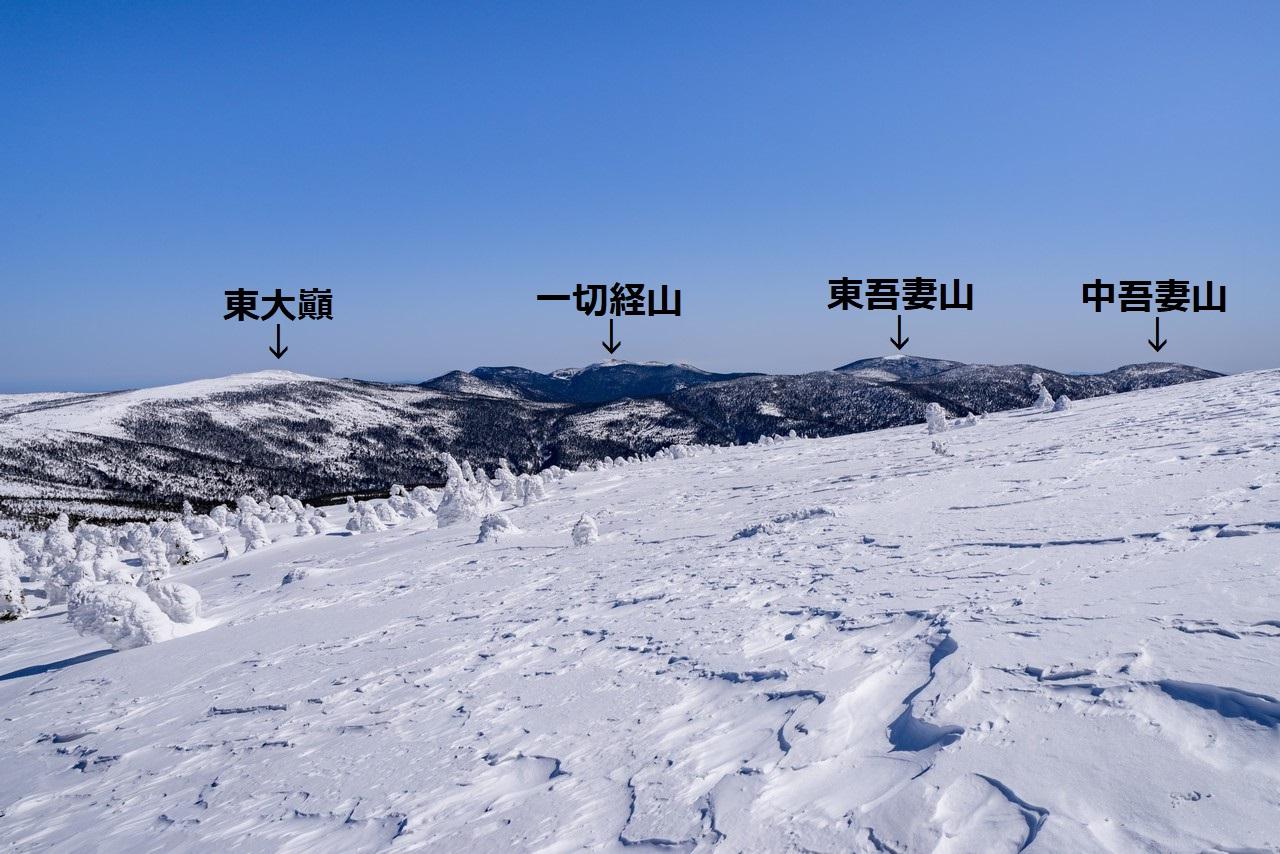 西吾妻山から見た東吾妻山(山名入り)