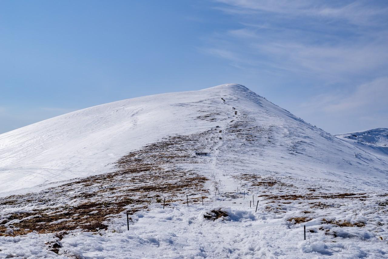 鞍部から見た平標山