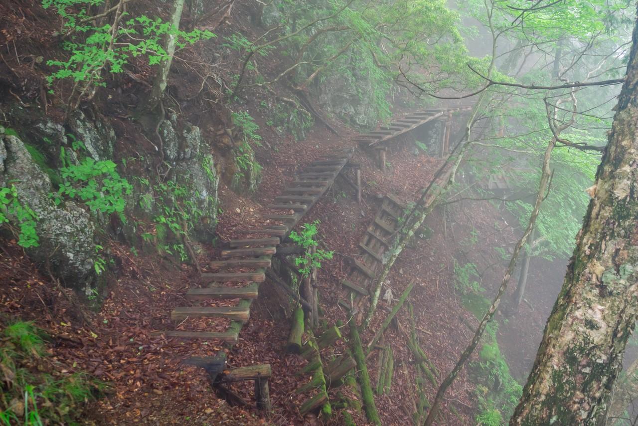 長沢背稜の木製桟橋