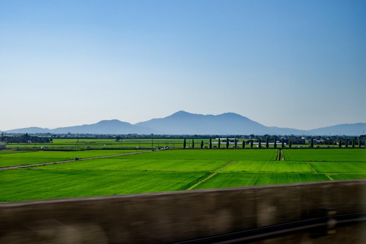 長岡駅付近から見た弥彦山