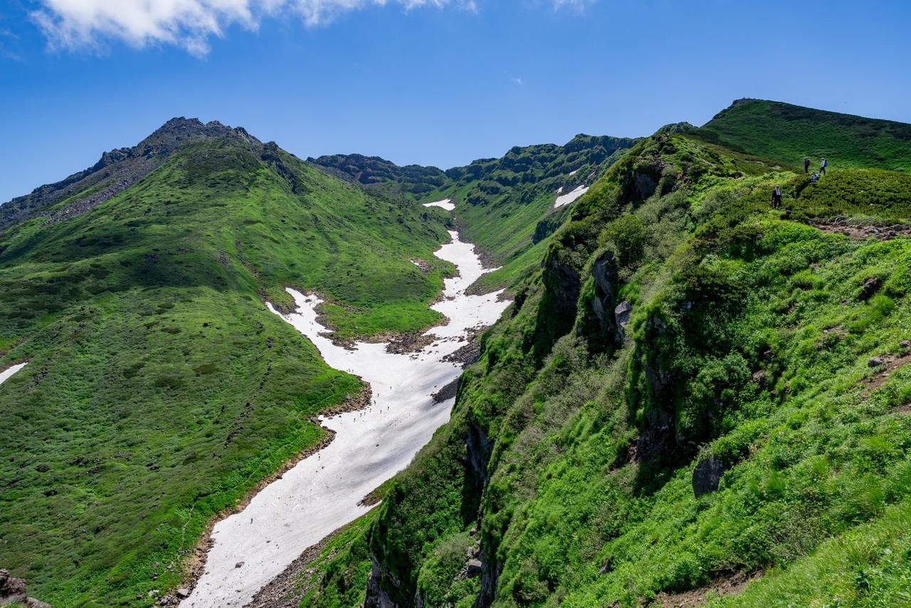 外輪山・千蛇谷分岐から見た千蛇谷分の雪渓