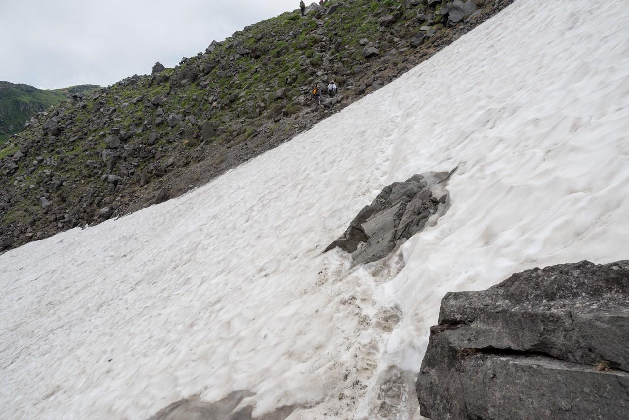 鳥海山 雪渓のトラバース