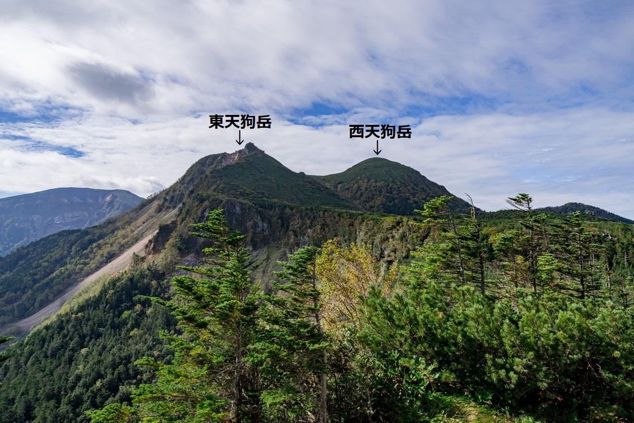 中山峠付近から見た天狗岳