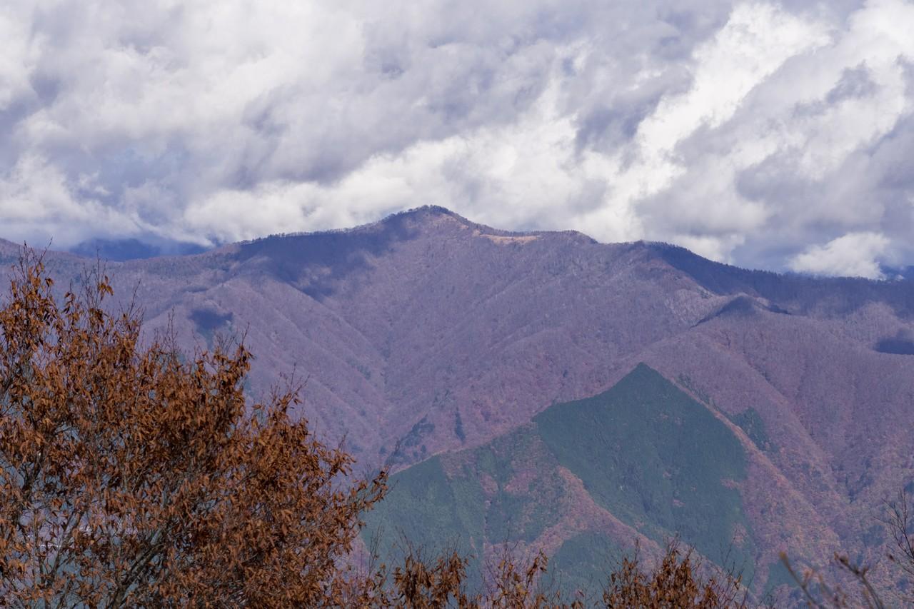 三頭山山頂から見た鷹ノ巣山