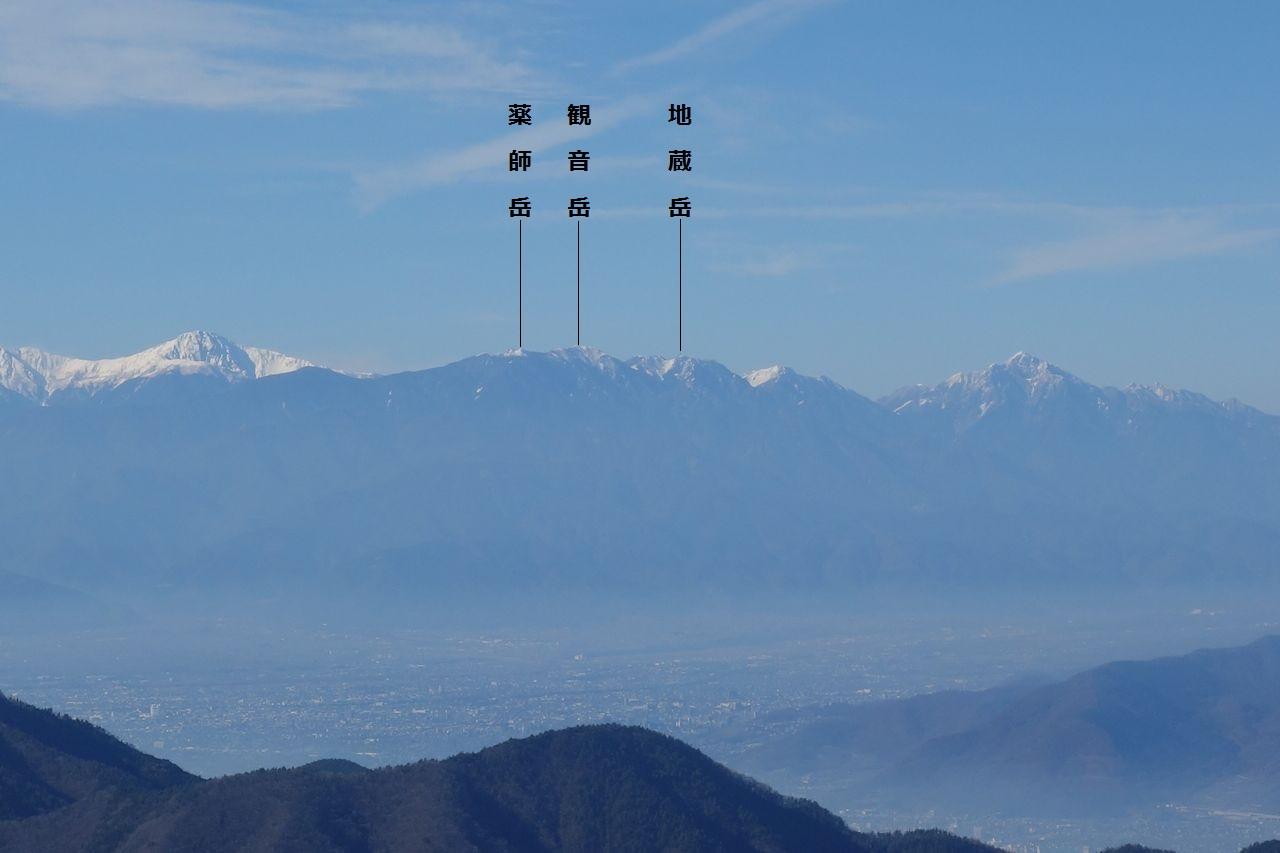 笹子雁ヶ腹摺山から見た鳳凰三山