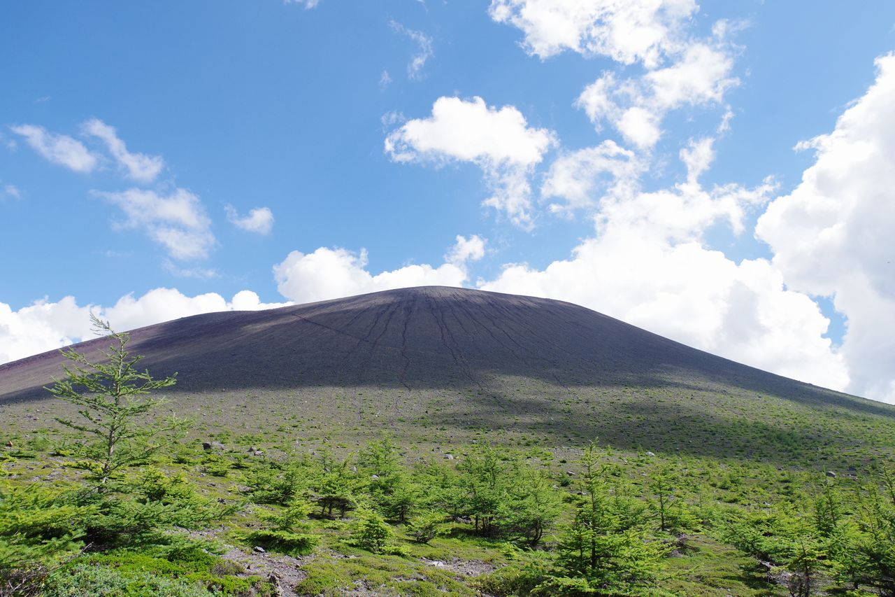 火口原から見上げる浅間山