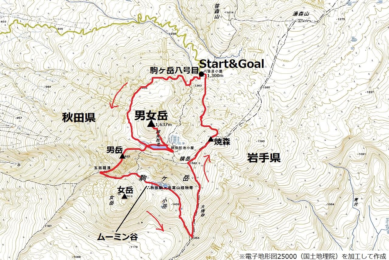 190707秋田駒ヶ岳_map