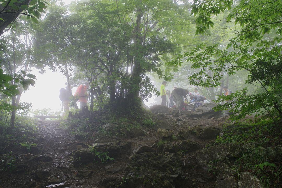 ガスに覆われた大岳山の山頂