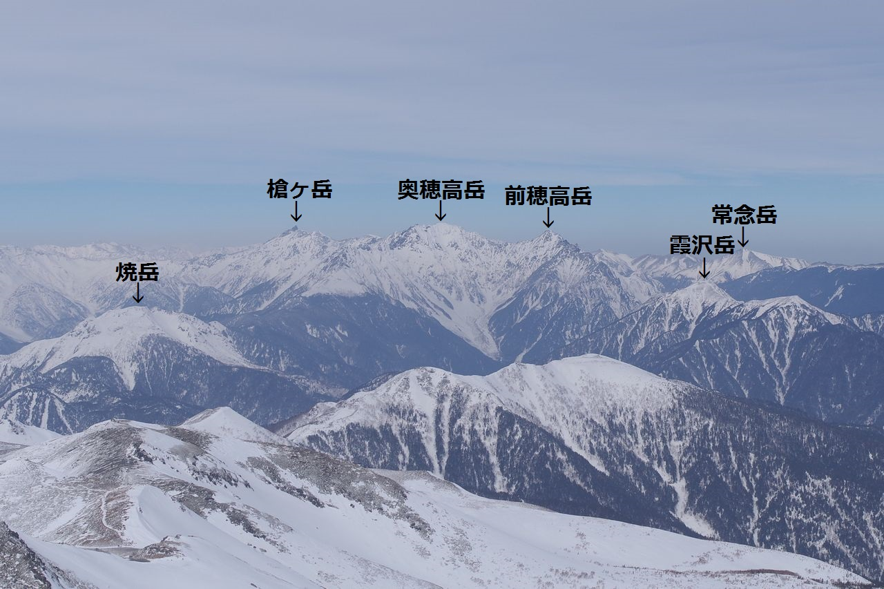 乗鞍岳から見た北アルプス(山名入り)