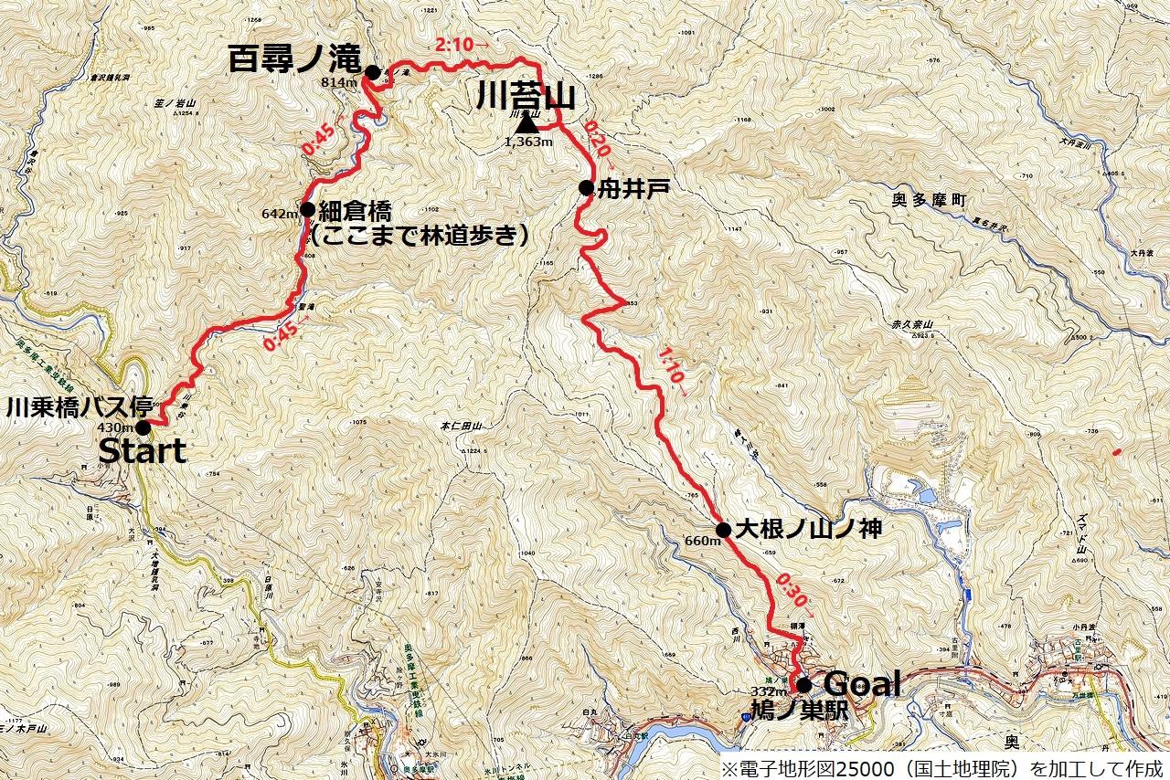 川苔山 地図