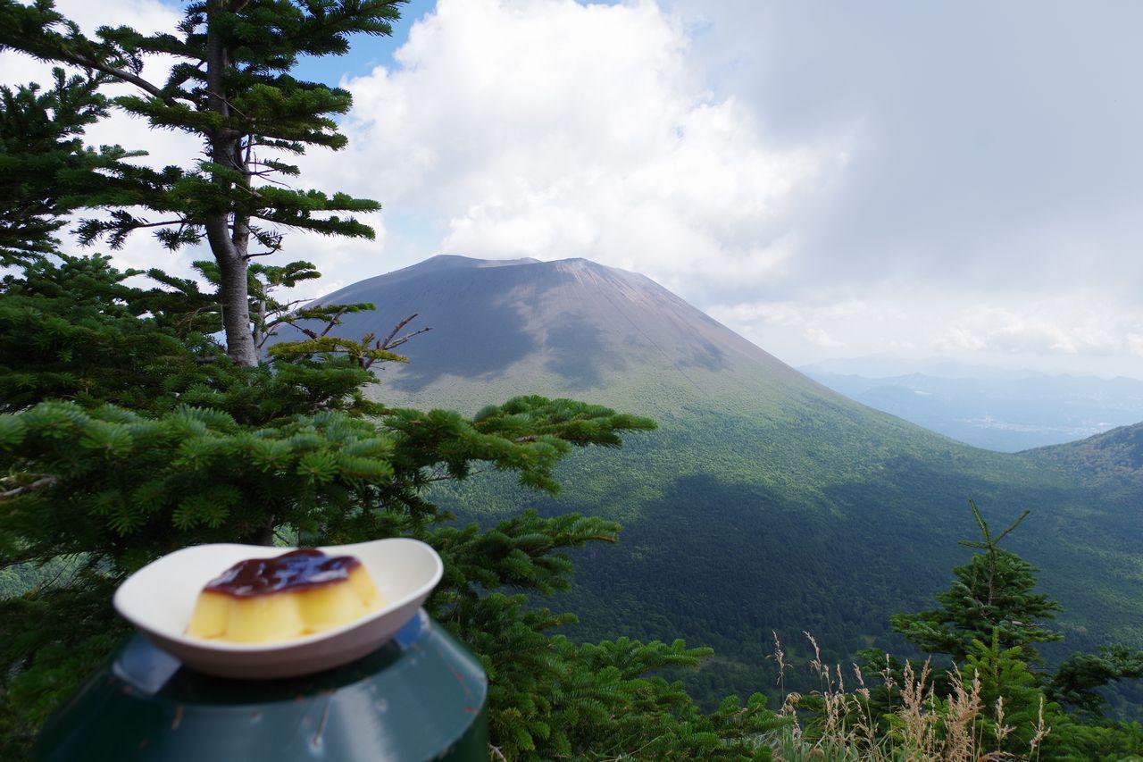 浅間山とプリン