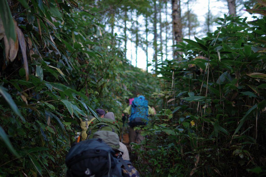 渋滞する合戦尾根の登山道