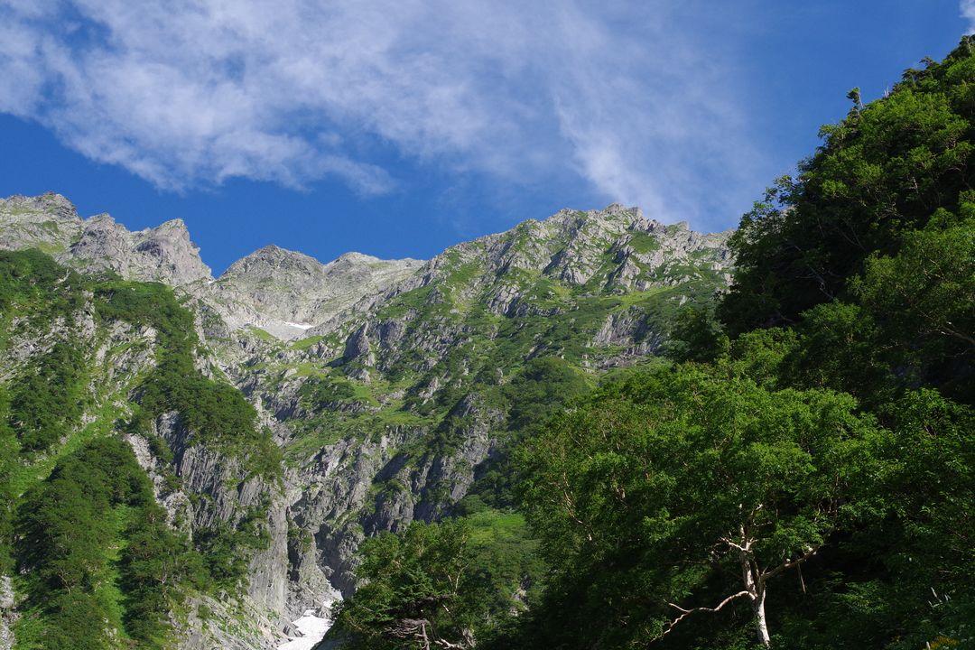 岳沢から見上げた前穂高岳
