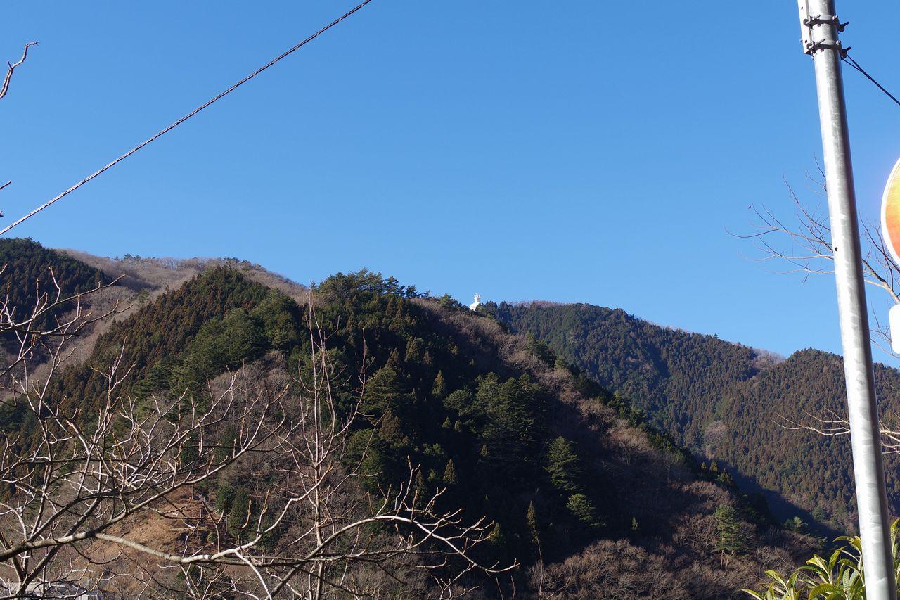深山橋バス停から見た大山寺