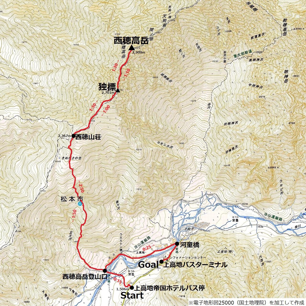 190907西穂高岳_map