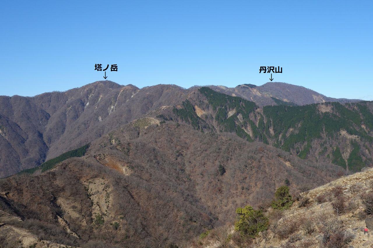 三ノ塔から見た塔ノ岳と丹沢山