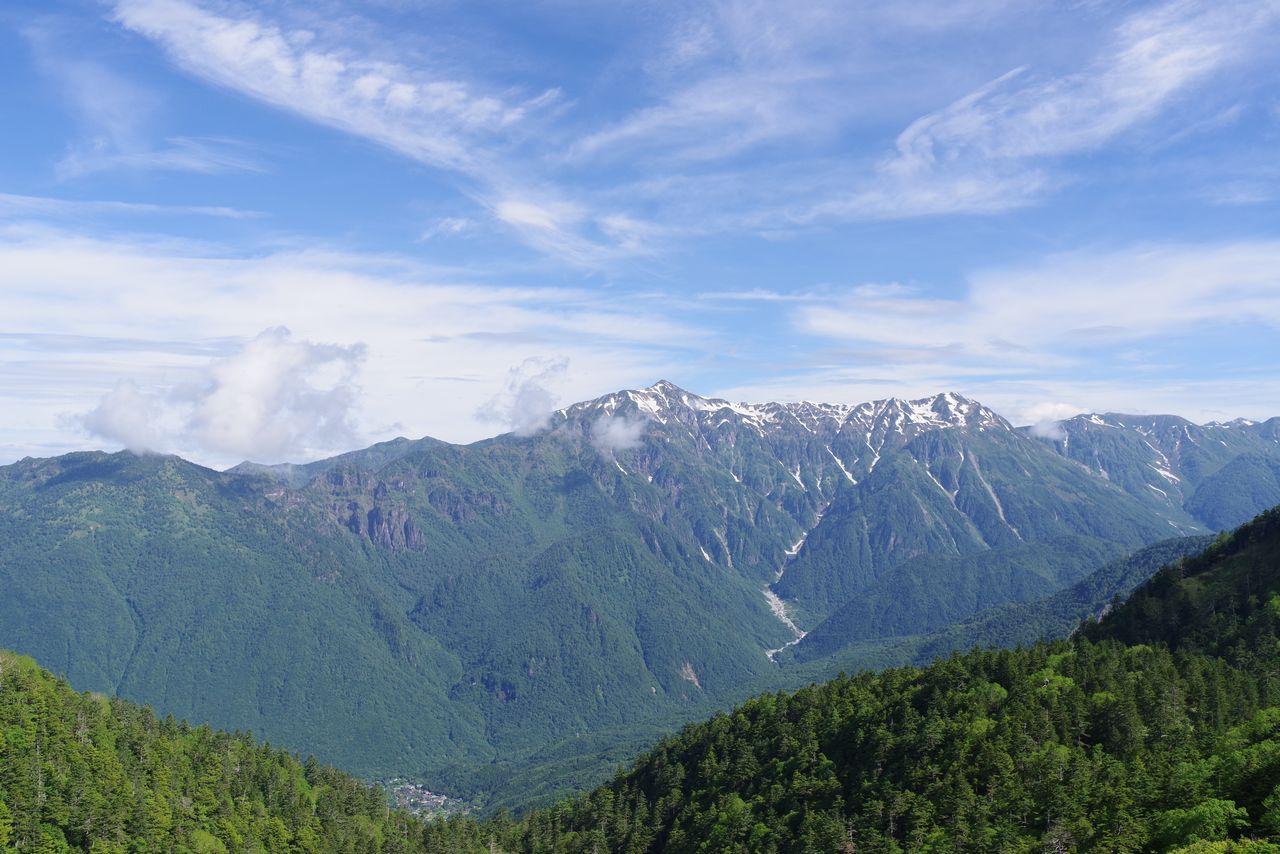 焼岳小屋の展望台から見た笠ヶ岳