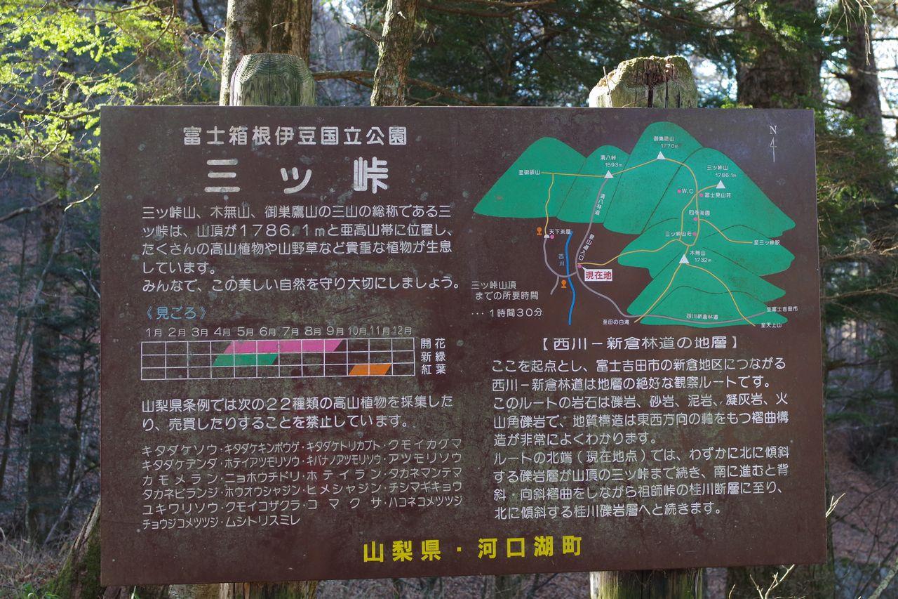 三ッ峠山の案内板