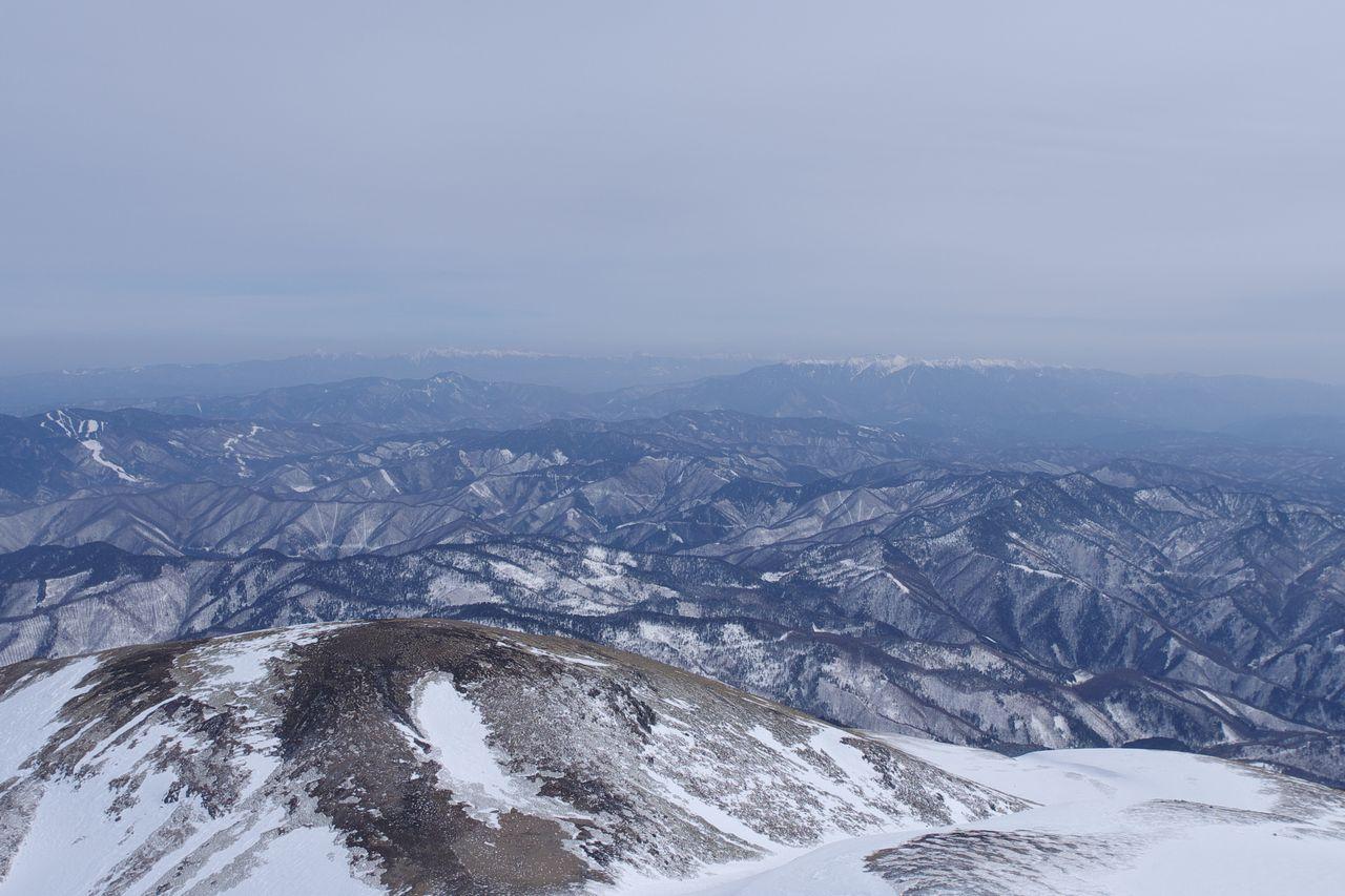 乗鞍岳から見た南、中央アルプス