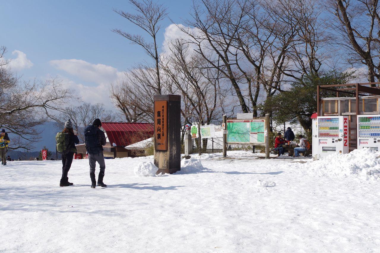 積雪した高尾山の山頂