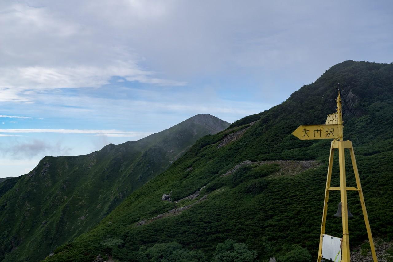 大門沢下降点から見た広河内岳