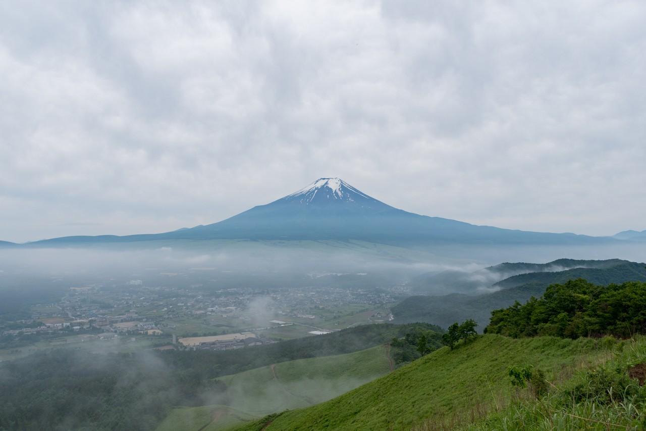 杓子山の茅場から見た富士山
