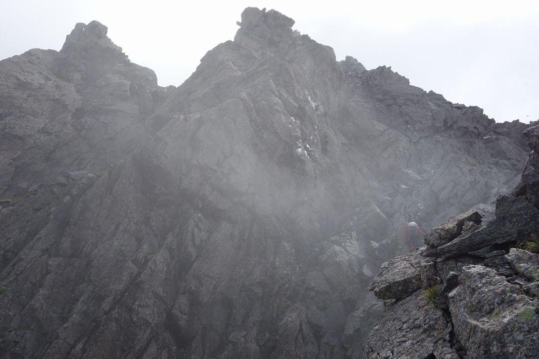 槍ヶ岳 穂先の登山道