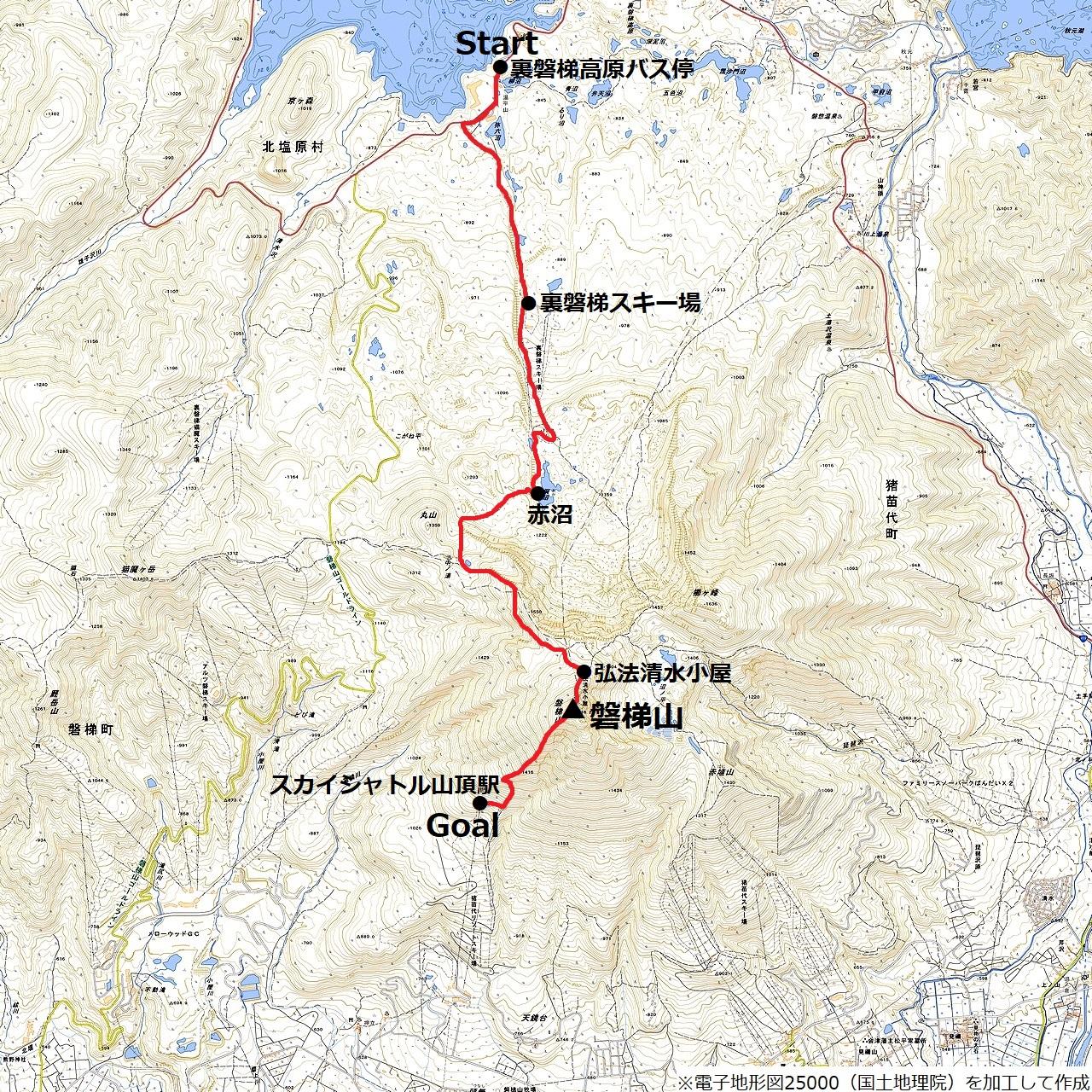 磐梯山縦断ルートの地図