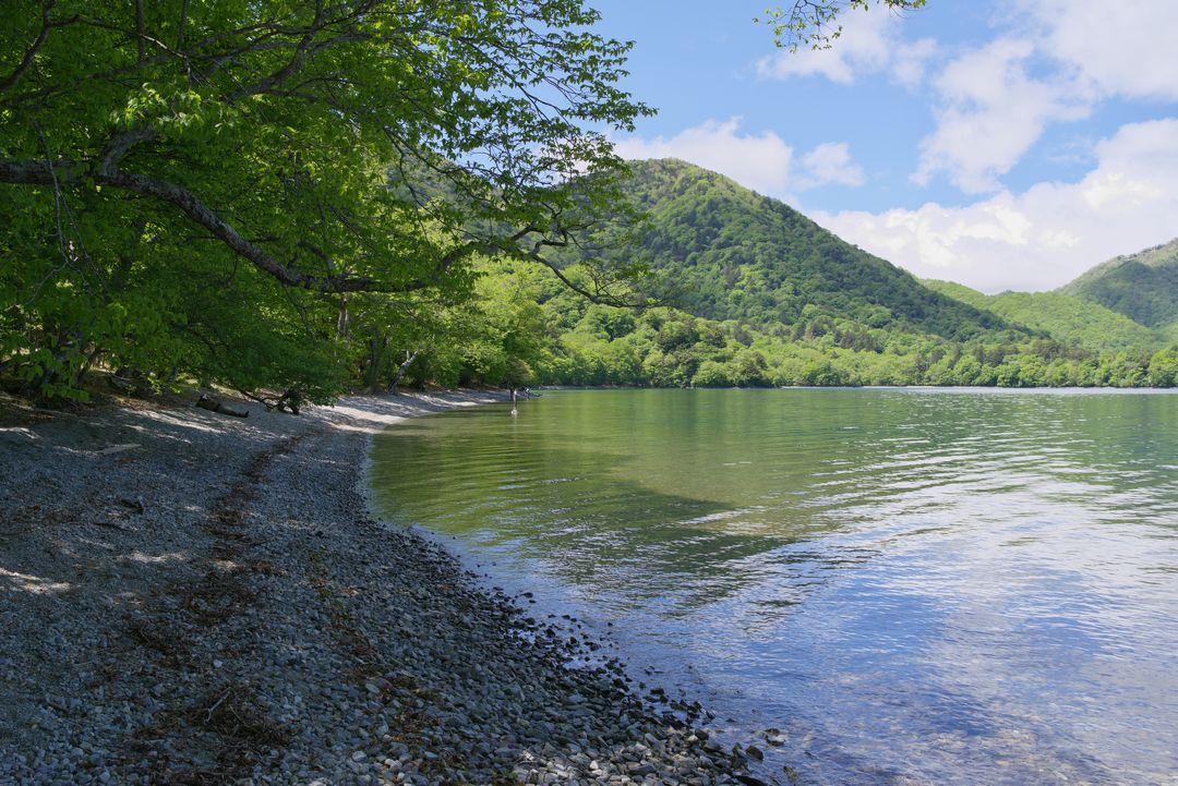 中禅寺湖畔の浜