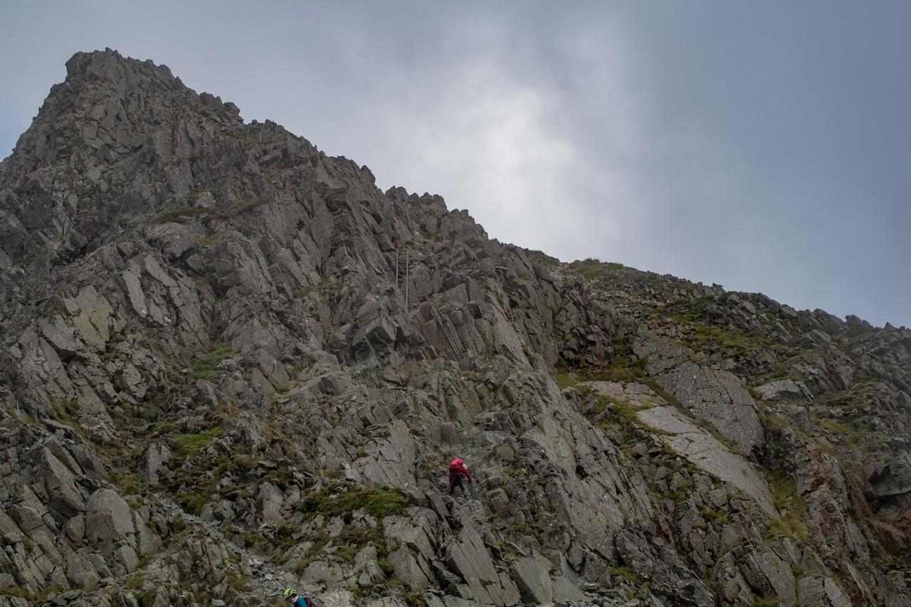 奥穂高岳山荘手間の岩場