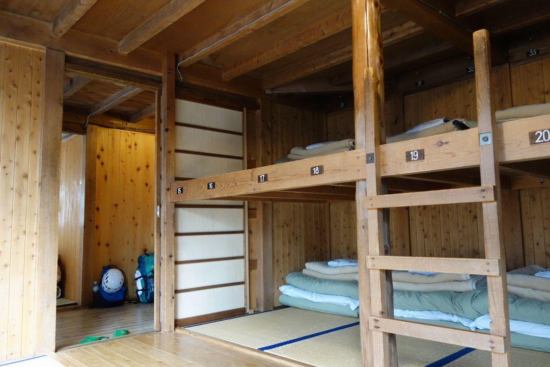 奥穂高岳山荘の寝室
