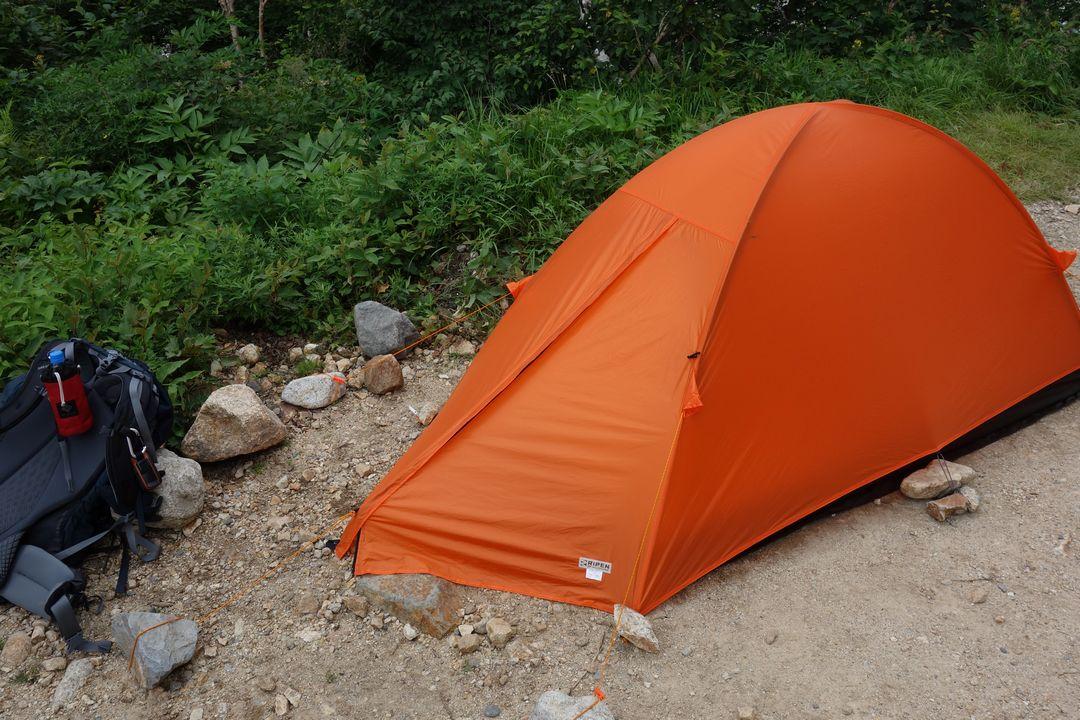 ババ平キャンプ場に張ったテント