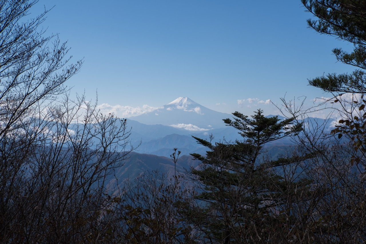 三頭山山頂から見た富士山