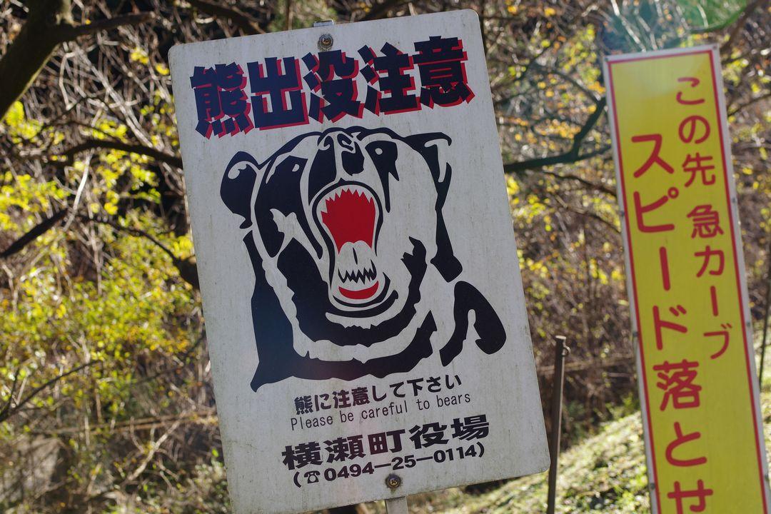 横瀬町の熊出没注意の看板