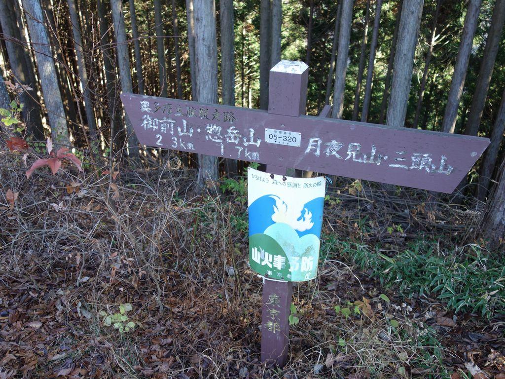 小河内峠の道標