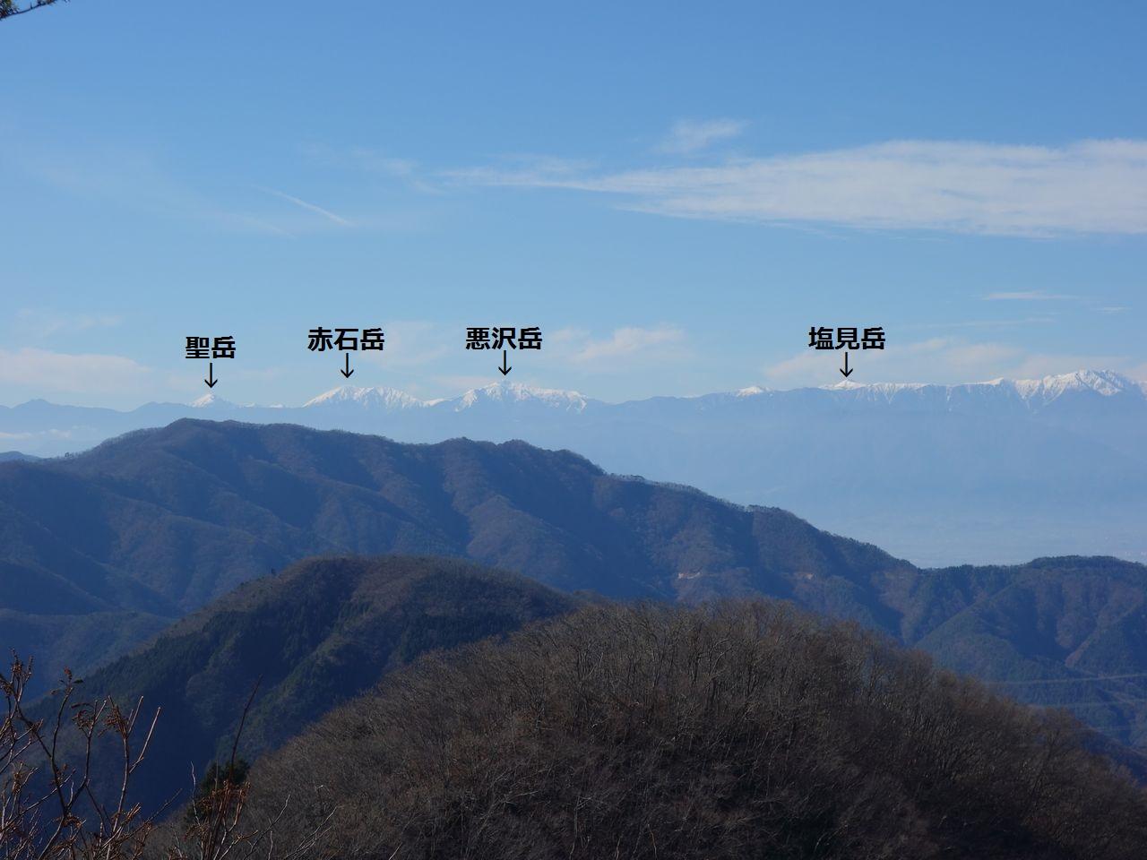 お坊山から見た南アルプス南部の山々