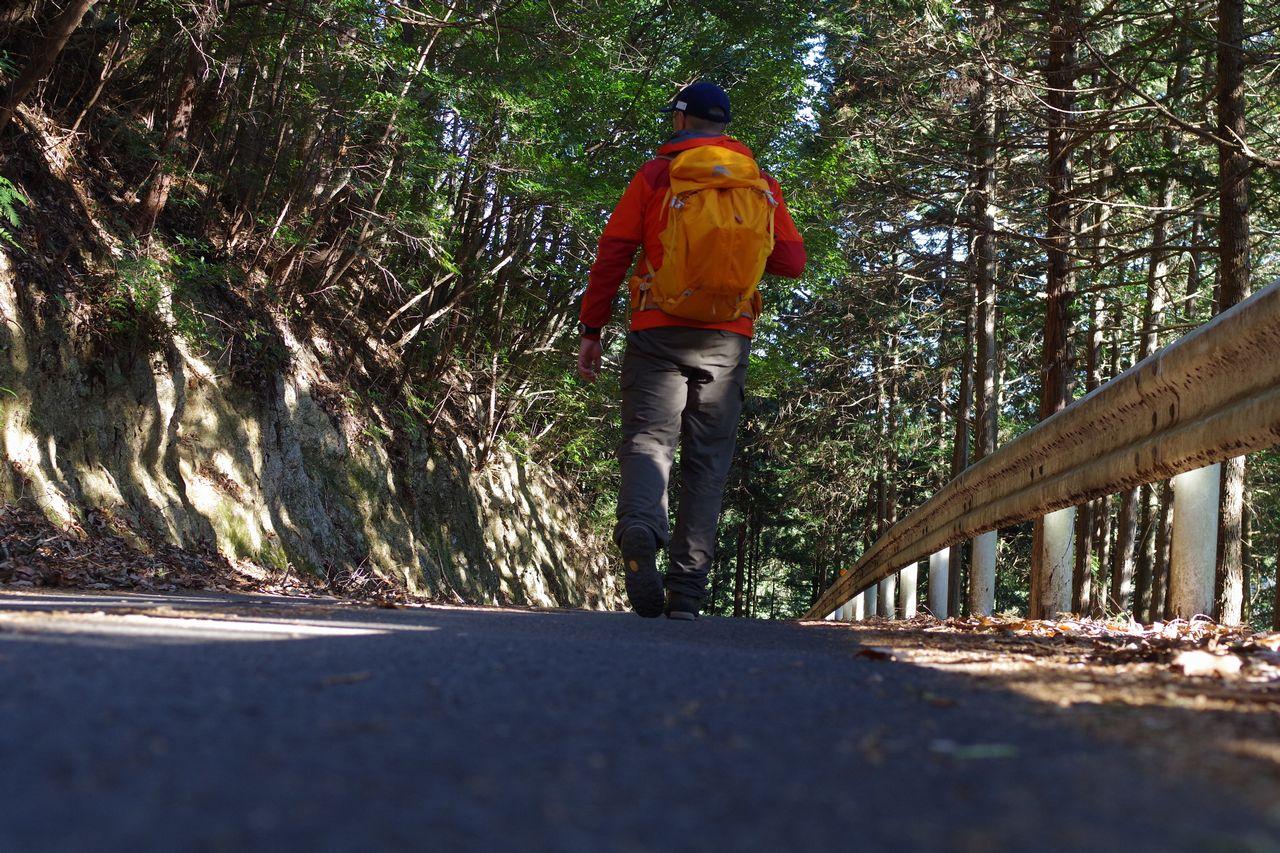 林道を歩く登山者