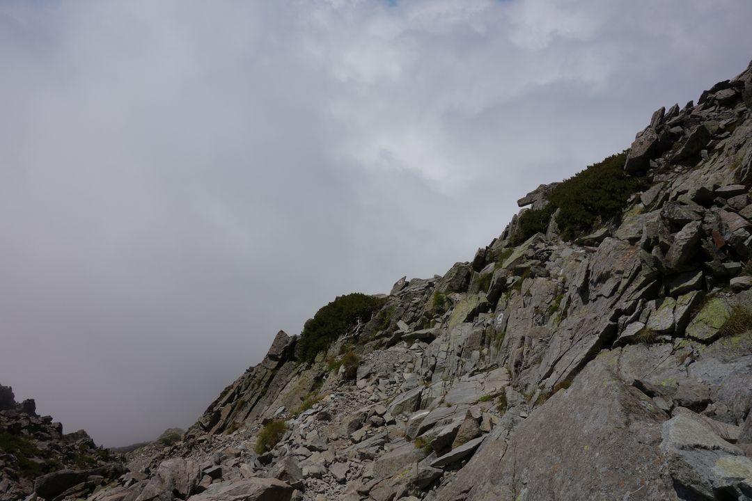 前穂高岳からの下り