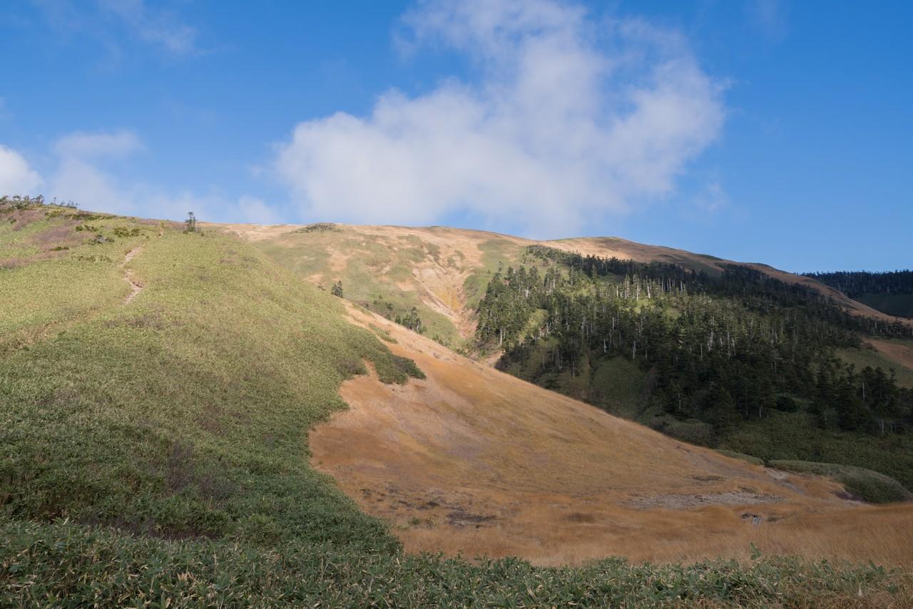 品小屋前から見た巻機山の山頂